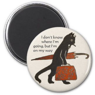 Vintage Travelling Black Cat Round Magnet