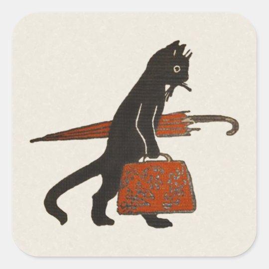 Vintage Travelling Black Cat Stickers