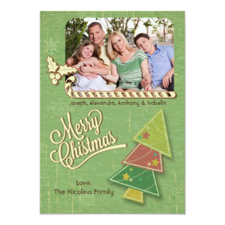 Vintage Tree And Candycane Holiday Photo Flat Card