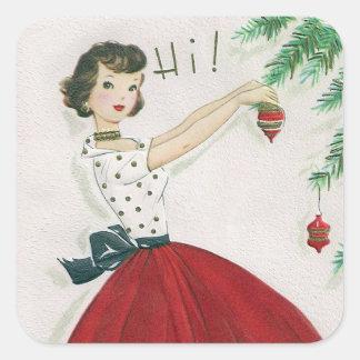 Vintage tree decorating lady retro sticker