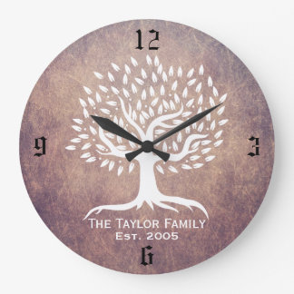 Vintage Tree Family Established Family Name Grunge Large Clock
