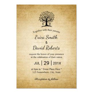 Vintage Tree Initials Rustic Wedding Card