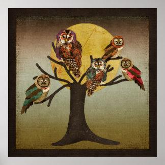 Vintage Tree of Owls Moonlight Poster