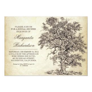 vintage tree old aged bridal shower invitations
