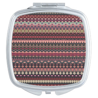 Vintage tribal aztec pattern compact mirrors