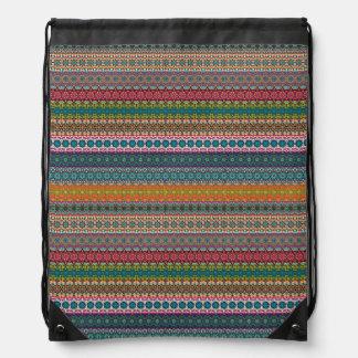 Vintage tribal aztec pattern drawstring bag