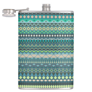 Vintage tribal aztec pattern hip flask