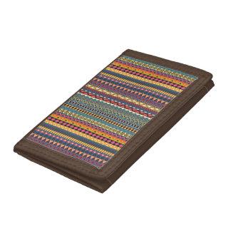 Vintage tribal aztec pattern tri-fold wallet