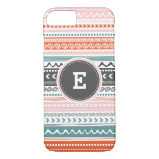 Vintage Tribal Pattern Monogram iPhone Case. iPhone 7 Case