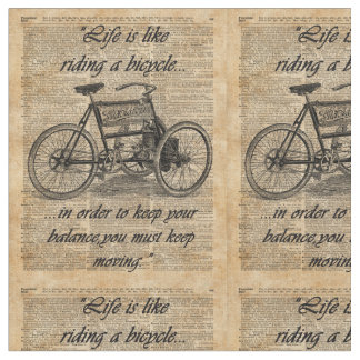 Vintage Tricycle Dictionary Art Bicycle Quote Fabric