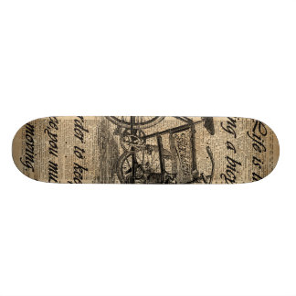 Vintage Tricycle Dictionary Art Bicycle Quote Skate Board Deck