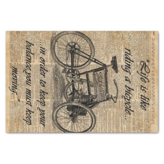 Vintage Tricycle Dictionary Art Bicycle Quote Tissue Paper