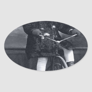 Vintage Tricycle Girl Oval Sticker