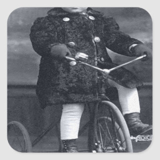 Vintage Tricycle Girl Square Sticker