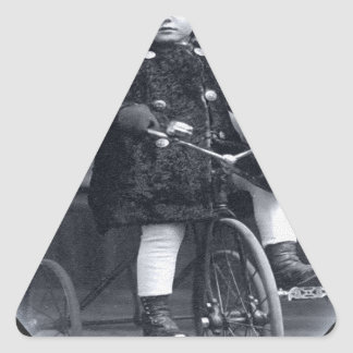 Vintage Tricycle Girl Triangle Sticker