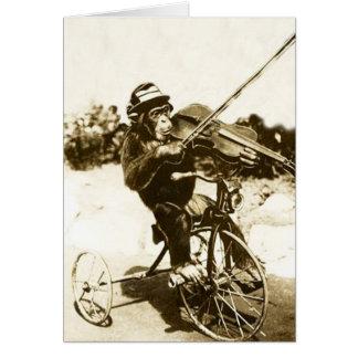 Vintage Tricycle-Ridng Chimp Violinist, Card
