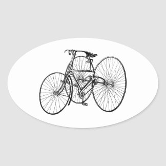 Vintage Tricycle - Three wheel bicycle Oval Sticker