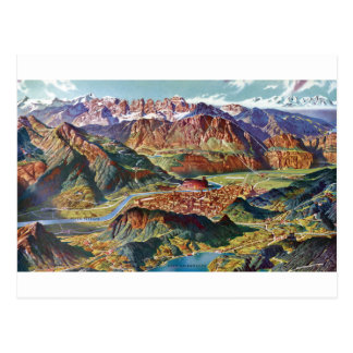 Vintage Trient and the Brenta Dolomites Italy Map Postcard
