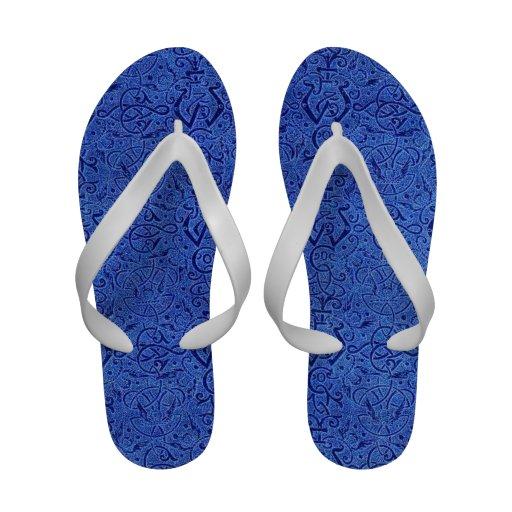 Vintage Triskle Celtic Trinity Knot Sapphire Blue Flip Flops