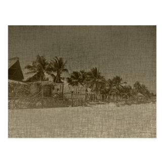 Vintage Tropical Beach Huts Postcard