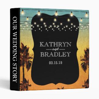 Vintage Tropical Beach Palm Wedding Story Album 3 Ring Binder
