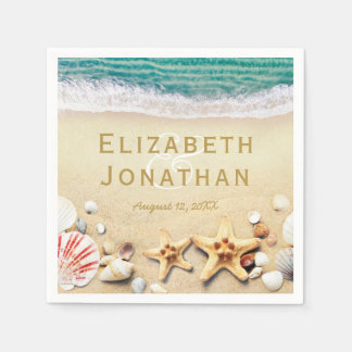 Vintage Tropical Beach Starfish Shells Wedding Paper Napkins