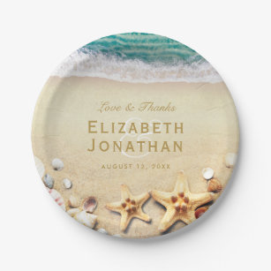 Vintage Tropical Beach Starfish Wedding Collection Paper Plate  sc 1 st  Zazzle CA : paper plate starfish - pezcame.com