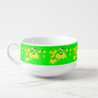 Vintage Tropical Block bright green yellow floral Soup Mug