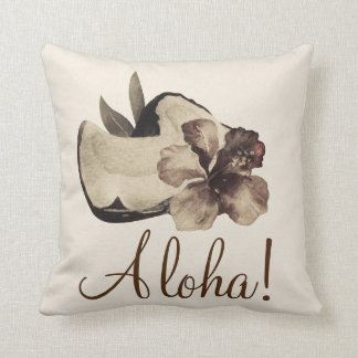 Vintage Tropical Coconut & Hibiscus Elegant Chic Throw Pillow