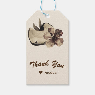 Vintage Tropical Coconut & Hibiscus Wedding Party Pack Of Gift Tags