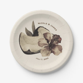 Vintage Tropical Coconut & Hibiscus Wedding Party Paper Plate