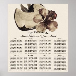 Vintage Tropical Coconut & Hibiscus Wedding Seat Poster