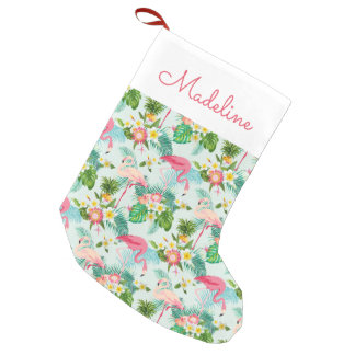 Vintage Tropical Flowers And Birds   Add Your Name Small Christmas Stocking