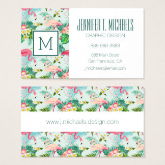 Vintage Tropical Flowers And Birds | Monogram Business Card