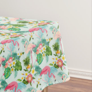 Vintage Tropical Flowers And Birds Tablecloth