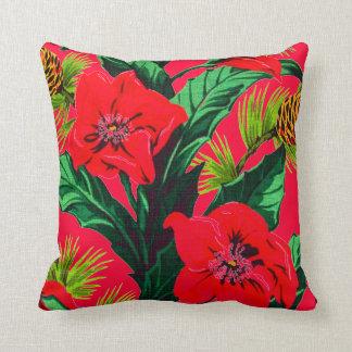 Vintage Tropical Flowers Florida Hawaii Decor Pillow