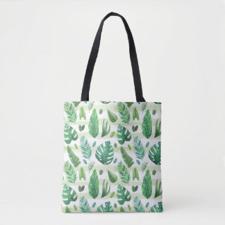 Vintage Tropical green leaves selection Tote Bag