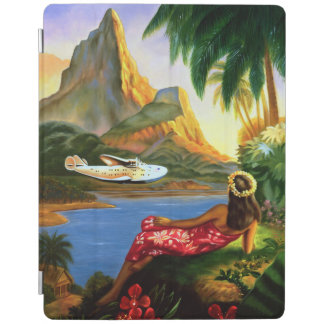 Vintage Tropical Hawaiian Sea Plane Palm Tree iPad iPad Cover