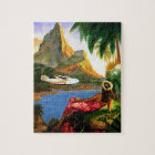 Vintage Tropical Hawaiian Sea Plane Palm Tree Jigsaw Puzzle
