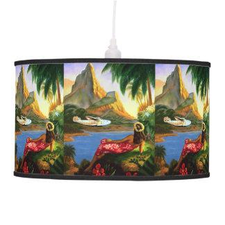 Vintage Tropical Hawaiian Sea Plane Palm Tree Pendant Lamp