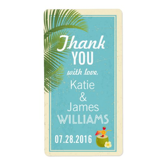 Vintage Tropical Island Luau Thank You Label