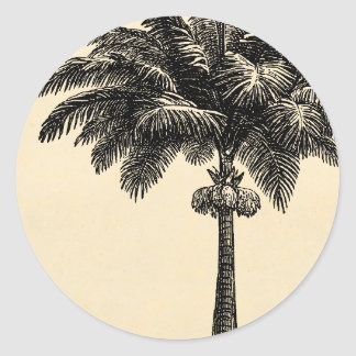Vintage Tropical Island Palm Tree Template Blank Round Sticker