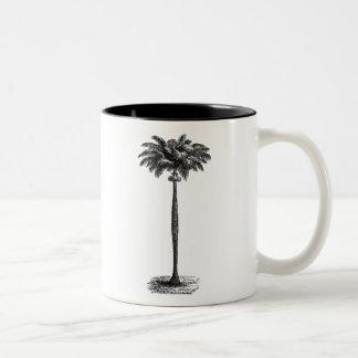 Vintage Tropical Island Palm TreeTemplate Blank Two-Tone Coffee Mug