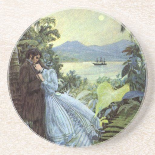 Vintage Tropical Love Drink Coaster