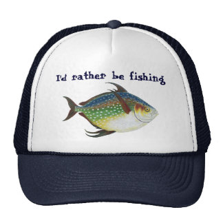 Vintage Tropical Opah Fish, I'd Rather be Fishing Trucker Hat