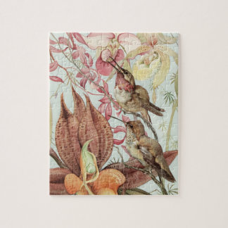 Vintage Tropical Orchids, Flowers and Hummingbirds Jigsaw Puzzle