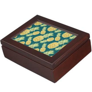 Vintage Tropical Pineapple Print Keepsake Boxes