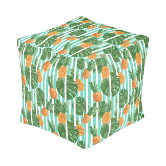 Vintage Tropical Pineapple Vector Seamless Pattern Pouf