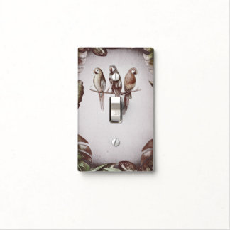 Vintage Tropical Tiki Birds Parrots & Leaves Light Switch Cover