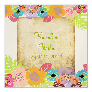 Vintage Tropical wedding Add your background Card
